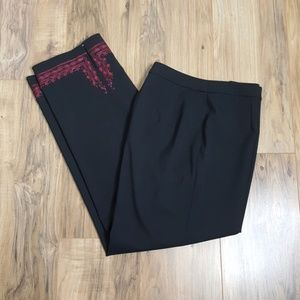 Ann Taylor LOFT Black Pants with Embroidered Cuffs